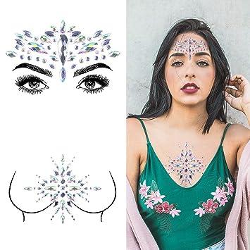 e30d933d Face & Breast Jewels Glitter Rhinestones Temporary Tattoo - 2 Pcs Body  Jewelry Stickers Crystal Mermaid