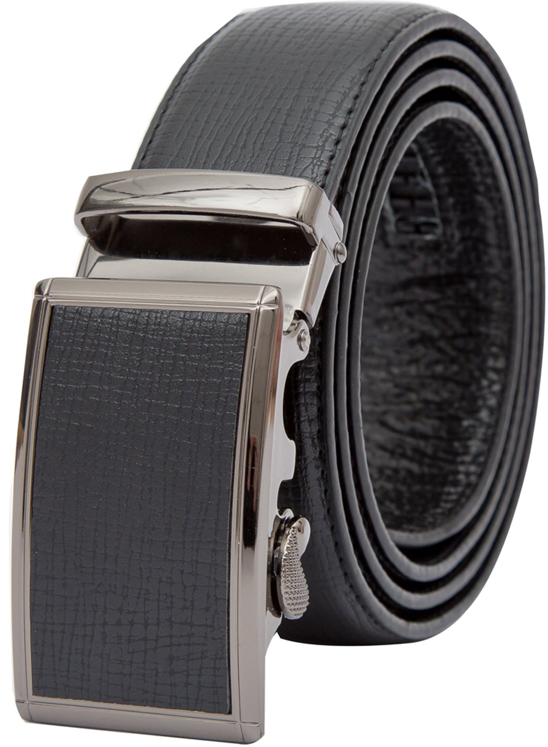 Beltox Fine Men's Ratchet Dress Leather Belt with Automatic Buckle in Gift Box (Waist size 44-46, Black Cross belt)