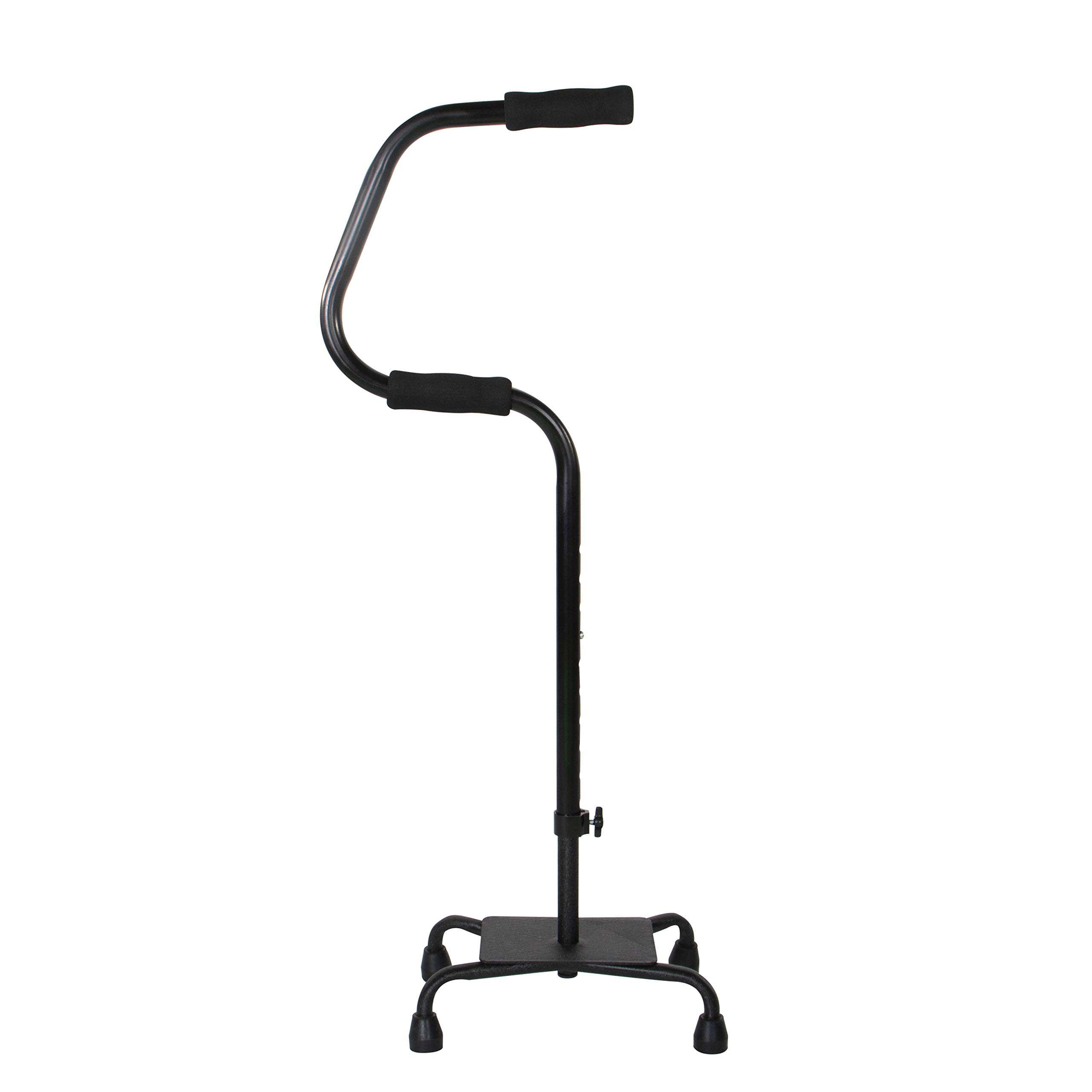 Easy Riser Quad Cane, Two Handle, Adjustable Height Mobility Aid, Standing Stability Base, Black, Large Base by PCP