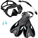 Supertrip Snorkel Set with Fins Impact Resistant Tempered Glass Anti-Fog Snorkeling Mask-Adjustable Diving Swimming Fins…