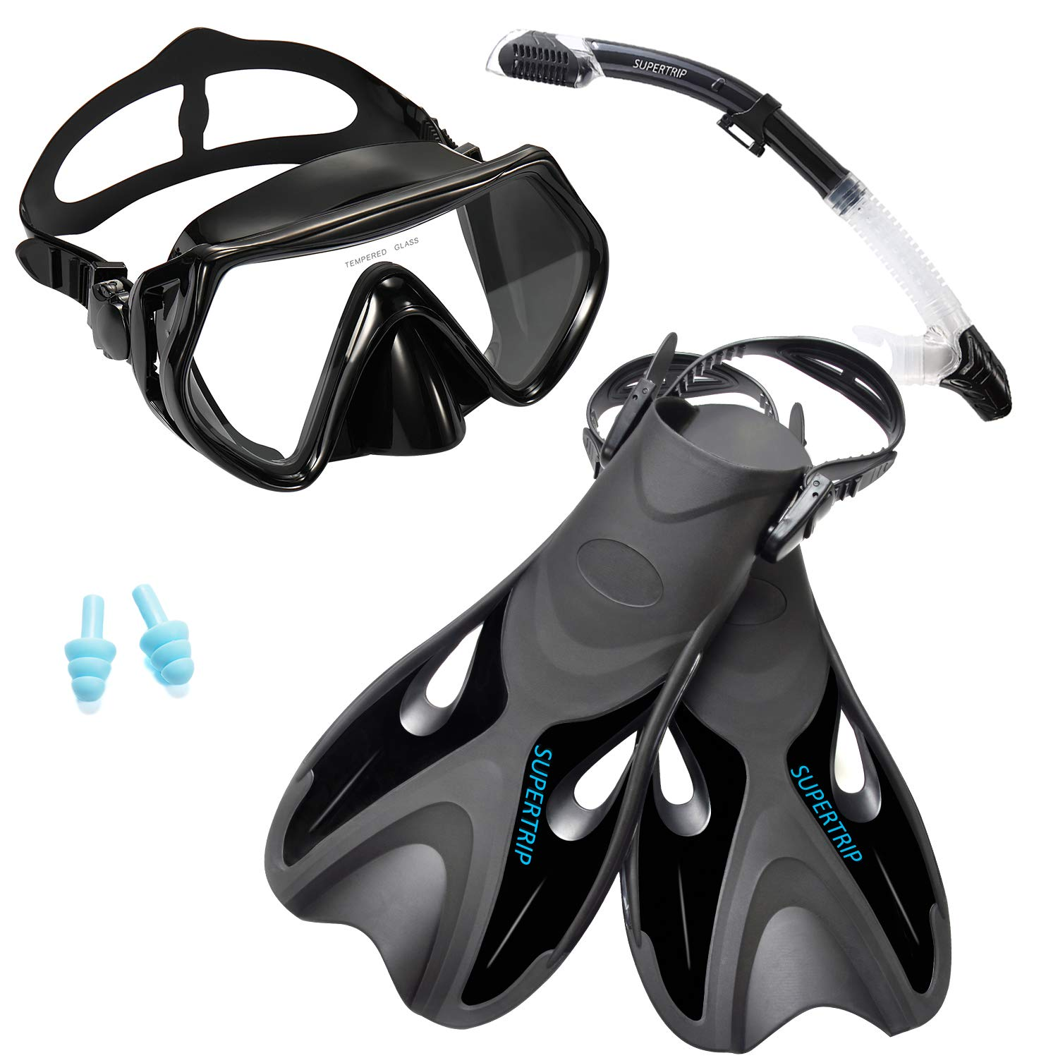 Supertrip Snorkel Set with Fins Impact Resistant Tempered Glass Anti-Fog Snorkeling Mask-Adjustable Diving Swimming Fins/Flippers-Dry Top Snorkel Included(Black S/M) by Supertrip