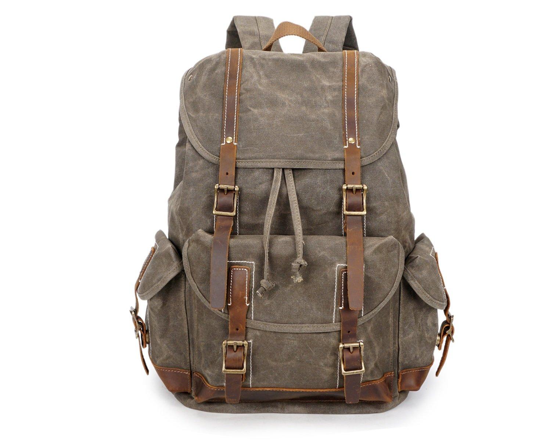 DAYIYANG スペシャルデザイン メンズバックパック クレイジーホースオイルワックスキャンバスバッグ レトロ防水トラベルアウトドアバックパック(色:真鍮、サイズ:M)   B07LB3R9N2