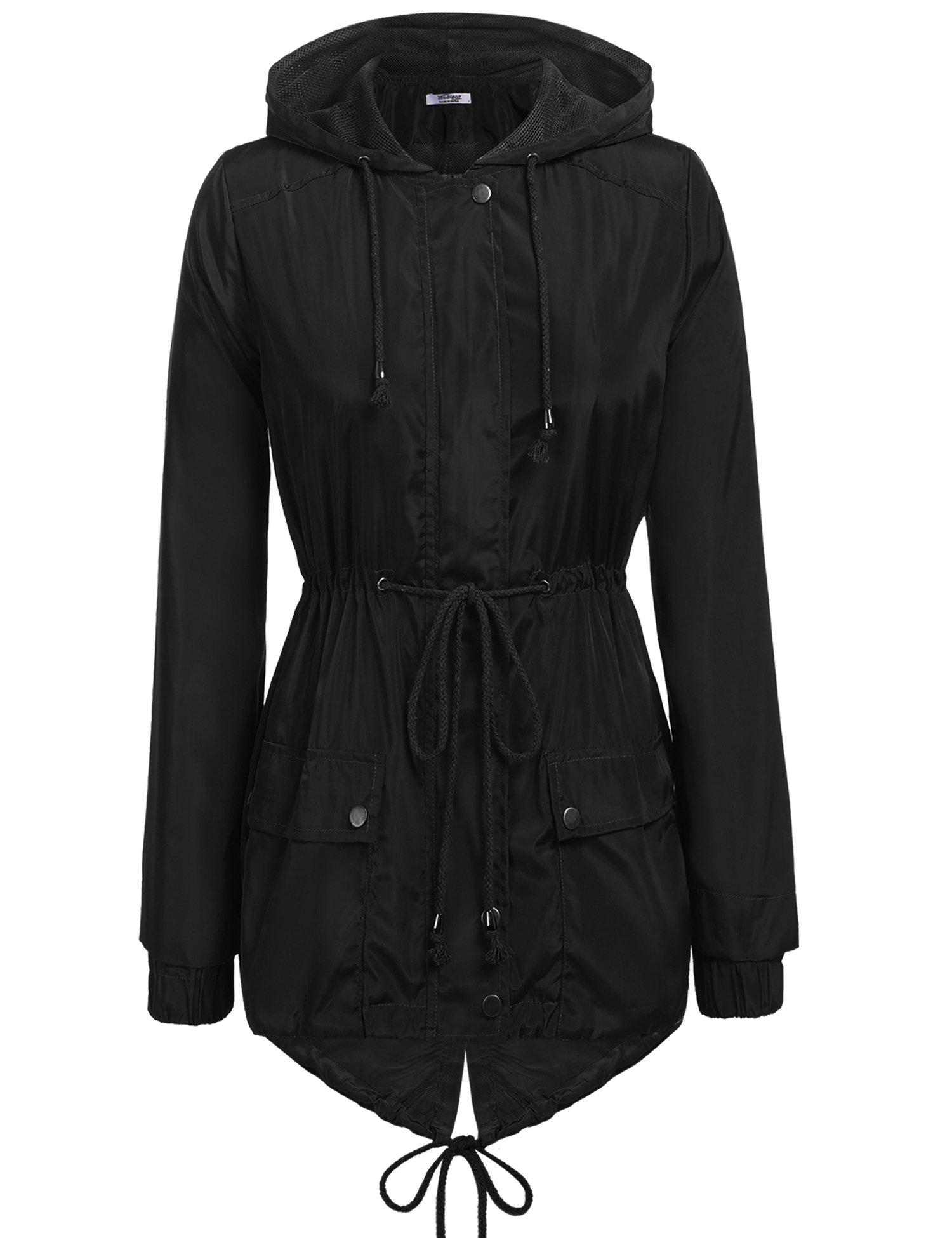 Zeagoo Women's Travel Trench Waterproof Raincoat Hoodie Windproof Hiking Coat Packable Rain Jacket Black/XXL