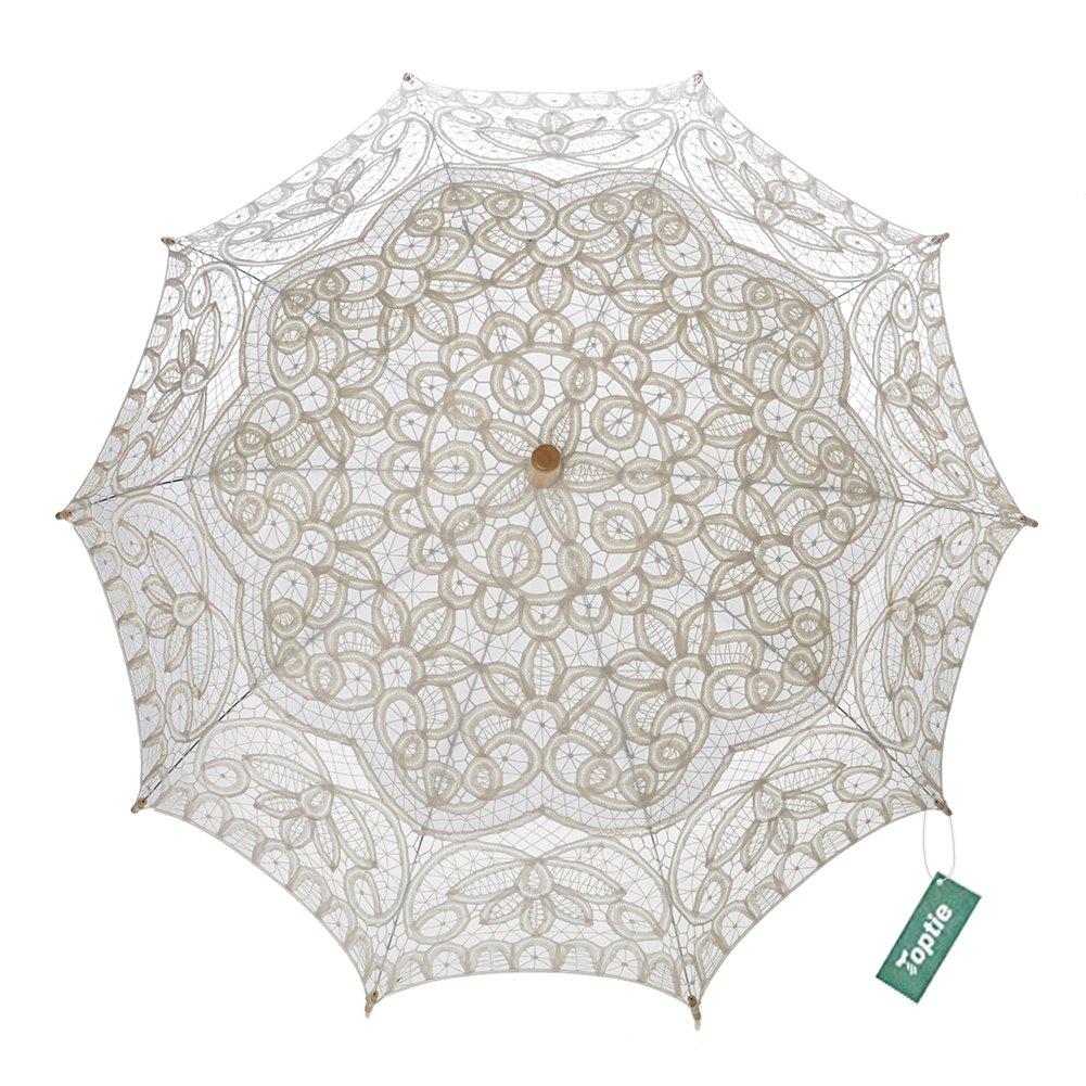 TopTie Lace Parasol Umbrella Wedding Party Decoration Bridal Costume Accessory WHITE-60PCS