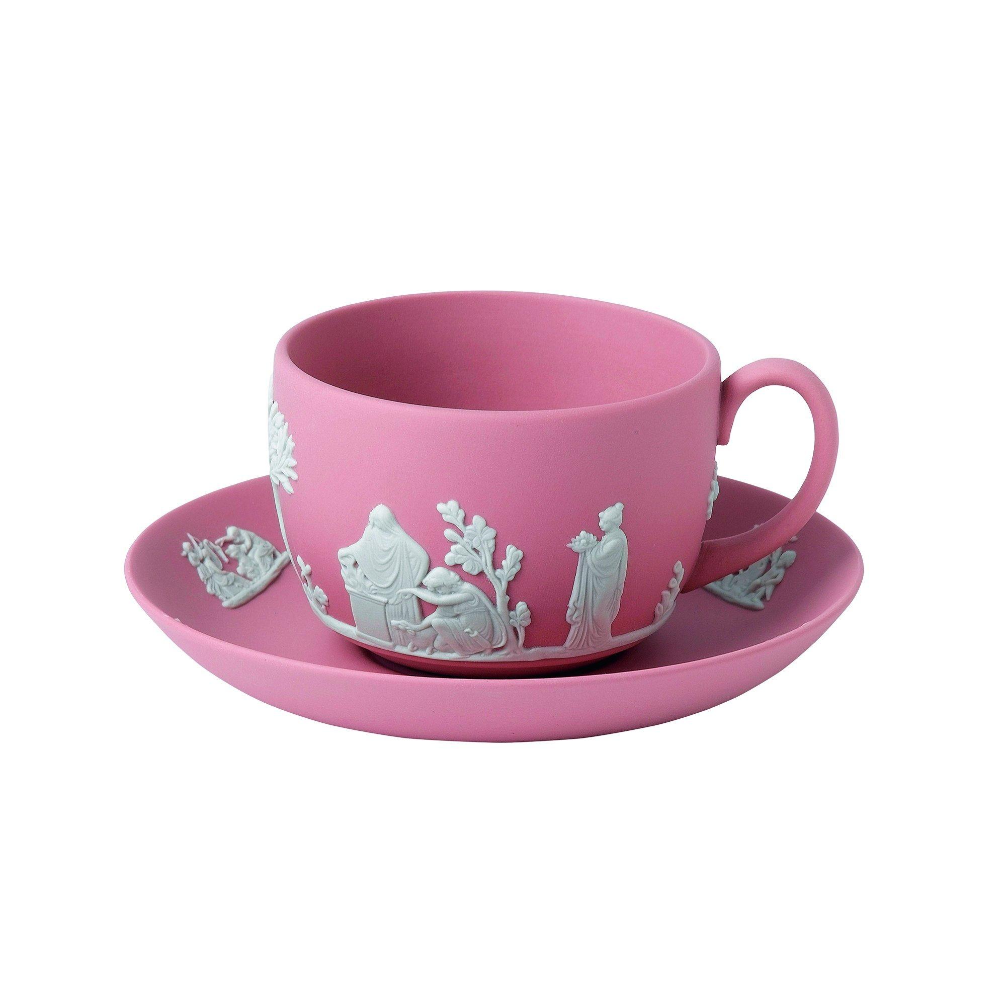 Wedgwood Jasperware Teacup and Saucer, Pink