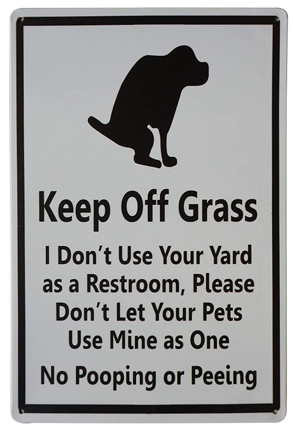 LASMINE Keep Off Grass Funny Dog Poop Tin Sign Pee No Yard Post for Dogs Poo Ping Signs Curb Your Allowed Pick Up After Lawn Peeing Decor 8X12Inch