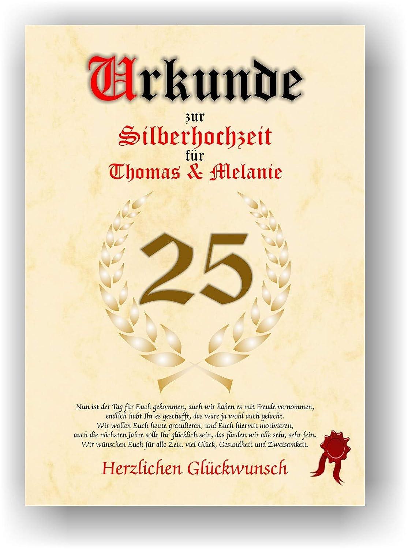 Urkunde zum 25. Hochzeitstag - Silderhochzeit - Geschenkurkunde Silberne Hochzeit personalisiertes Geschenk Karte zum Ehrentag XXL DIN A4 C.K. Onlinehandel