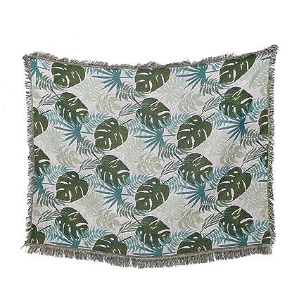 Amazon.com: Sofa Throws Blanket Green Leaf Monstera Design ...