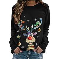 Womens Christmas Tops Cute Printed Tshirts Long Sleeve Pullover Casual Crewneck Sweatshirt Loose Comfy Tops