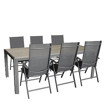 7 pièces Salon de jardin Table de jardin en aluminium avec ...