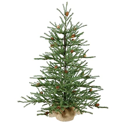 vickerman carmel colored pine tree with pine cones and 684 tips with burlap base 30 - Christmas Tree With Pine Cones