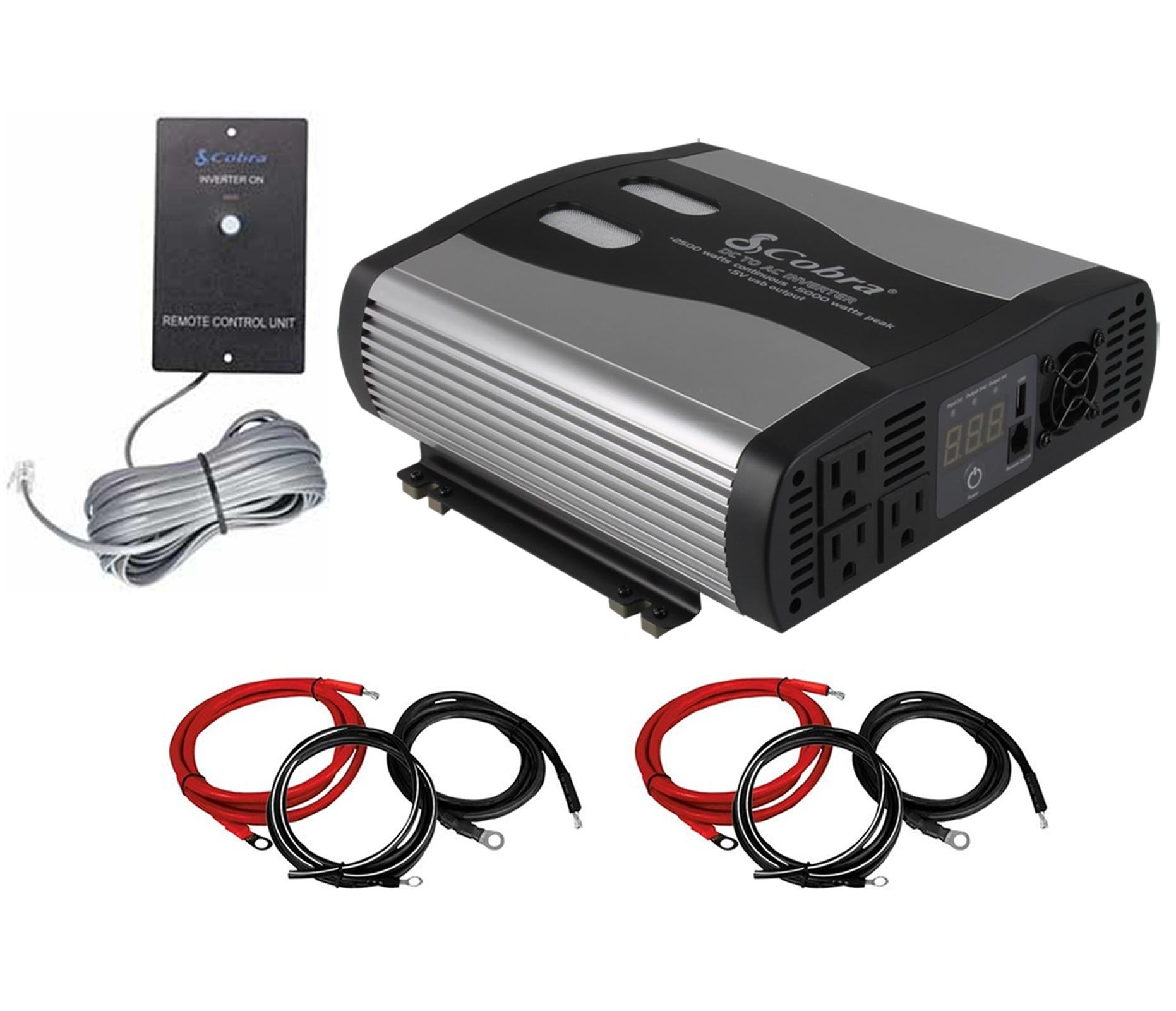 COBRA CPI2575 2500 Watt DC to AC Car Power Inverter + Cable Kits + Remote Switch