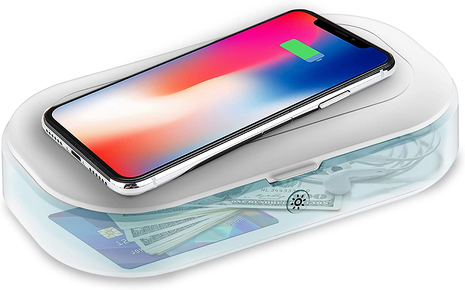 Homecode Cleaner & Wireless Charger | 3 in 1 Sterilizing Box for Cell Phone, Jewelry, Watches, Glasses | Portable U V С Light Smartphone Sanitizer | USA & EA Certificated