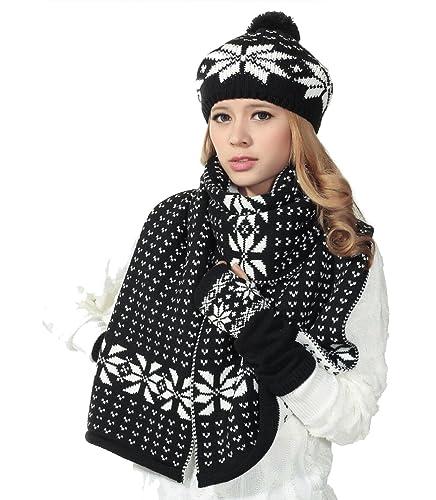 Donna Fiocco Di Neve Modello Coordinati invernali a Maglia(Nero)