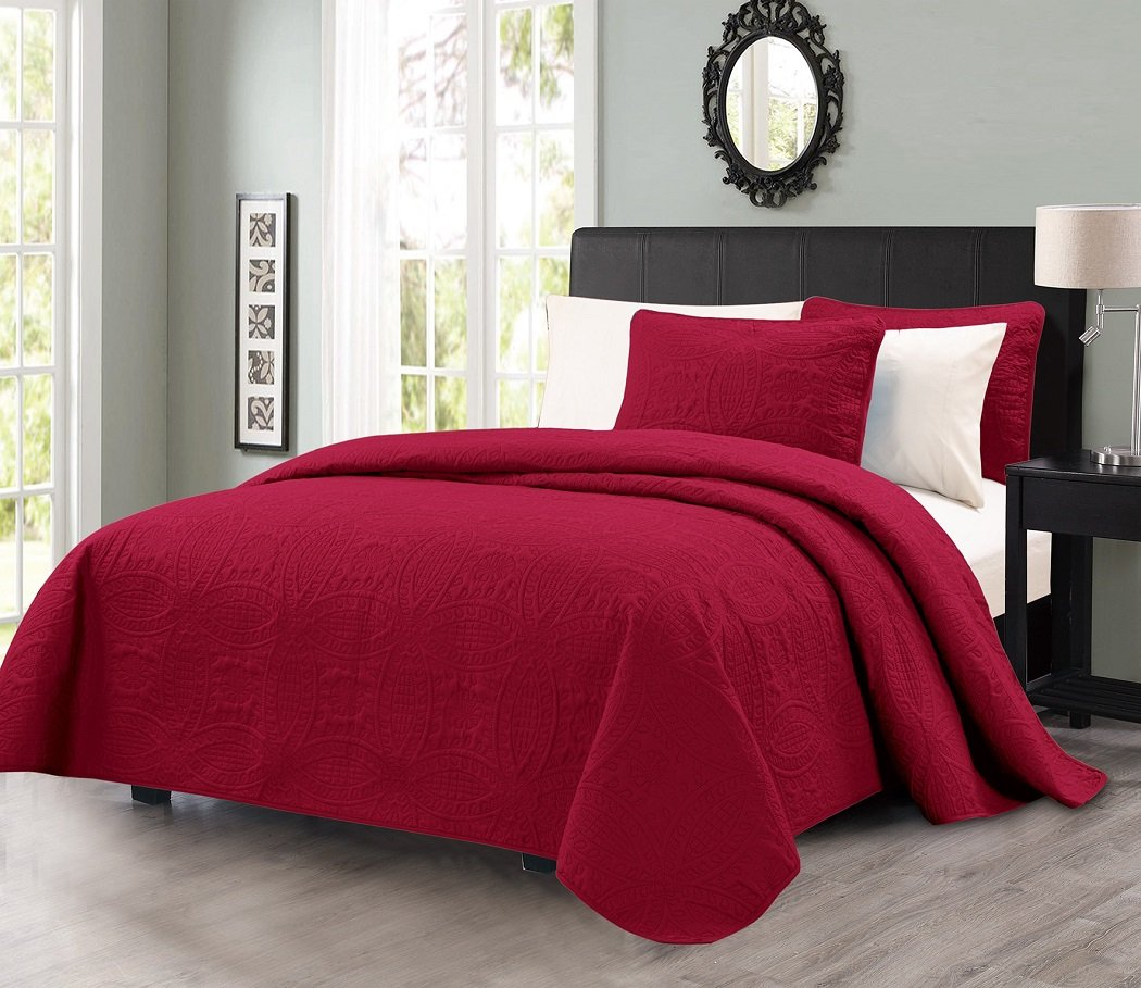 Chezmoi Collection Austin 3-piece Oversized Bedspread Coverlet Set King, Burgundy