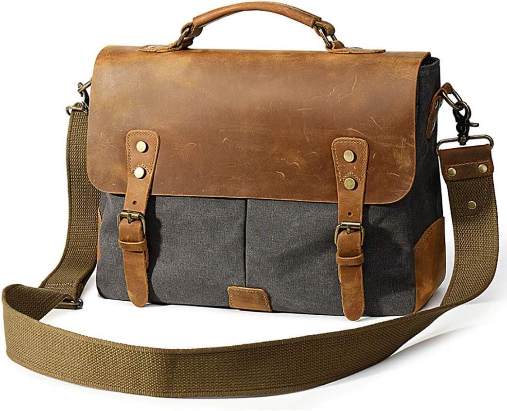 FeliciaJuan Simple Vintage Briefcase Zipper Waterproof Canvas Messenger Shoulder Bag Color Khaki