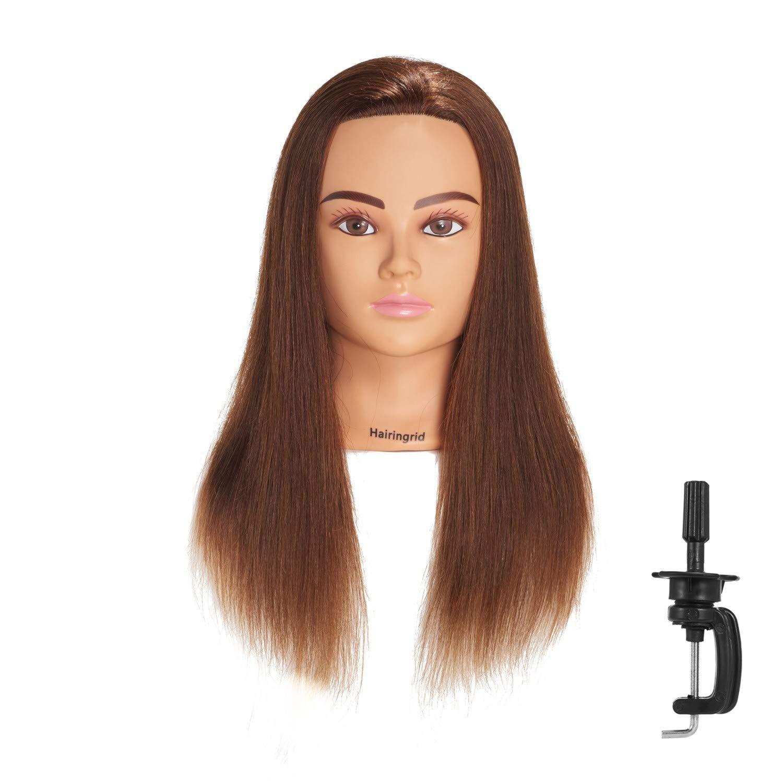 Amazon Com Hairingrid Mannequin Head 20 22 100 Human Hair Hairdresser Cosmetology Mannequin Manikin Training Head Hair And Free Clamp Holder 1906lb0414 Beauty