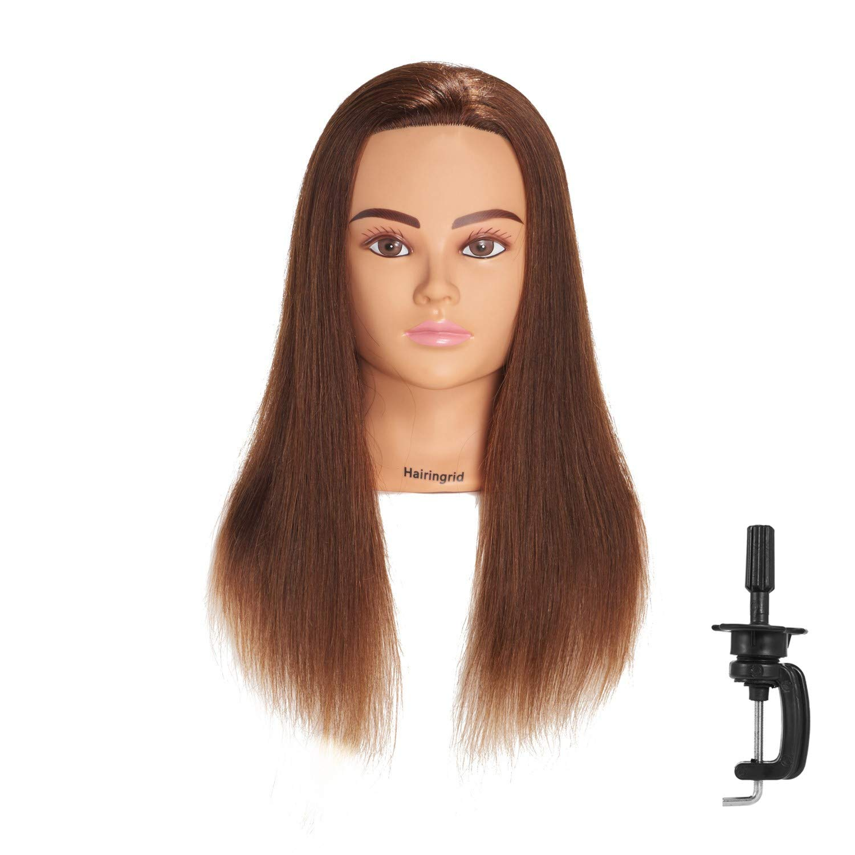 Hairingrid Mannequin Head 20''-22'' 100% Human Hair Hairdresser Cosmetology Mannequin Manikin Training Head Hair and Free Clamp Holder (1906LB0414) by Hairingrid