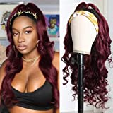 Beauty Forever 1B/99J Body Wave Hair Adjustable Headband Wig Glueless Human Hair Wigs, 14inch Non Lace Wig 100% Human Hair 15