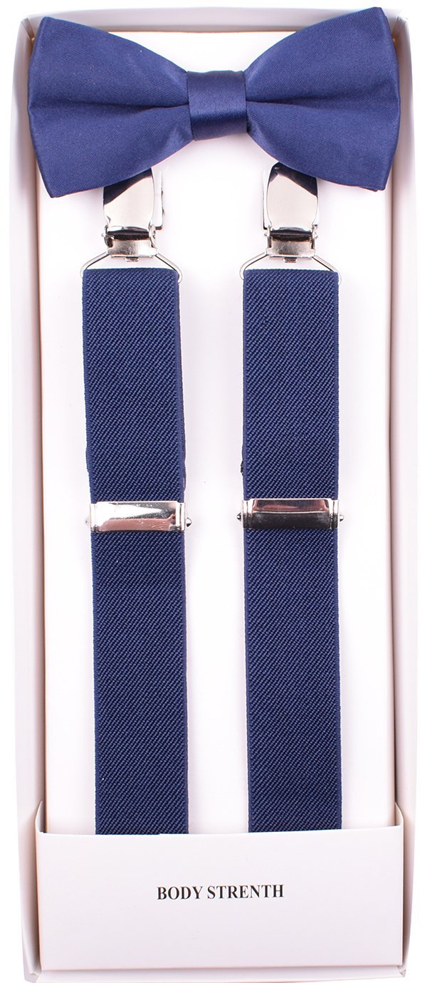 BODY STRENTH Kids Suspenders and Bow Tie Adjustable Y Shape Navy 22 Inches