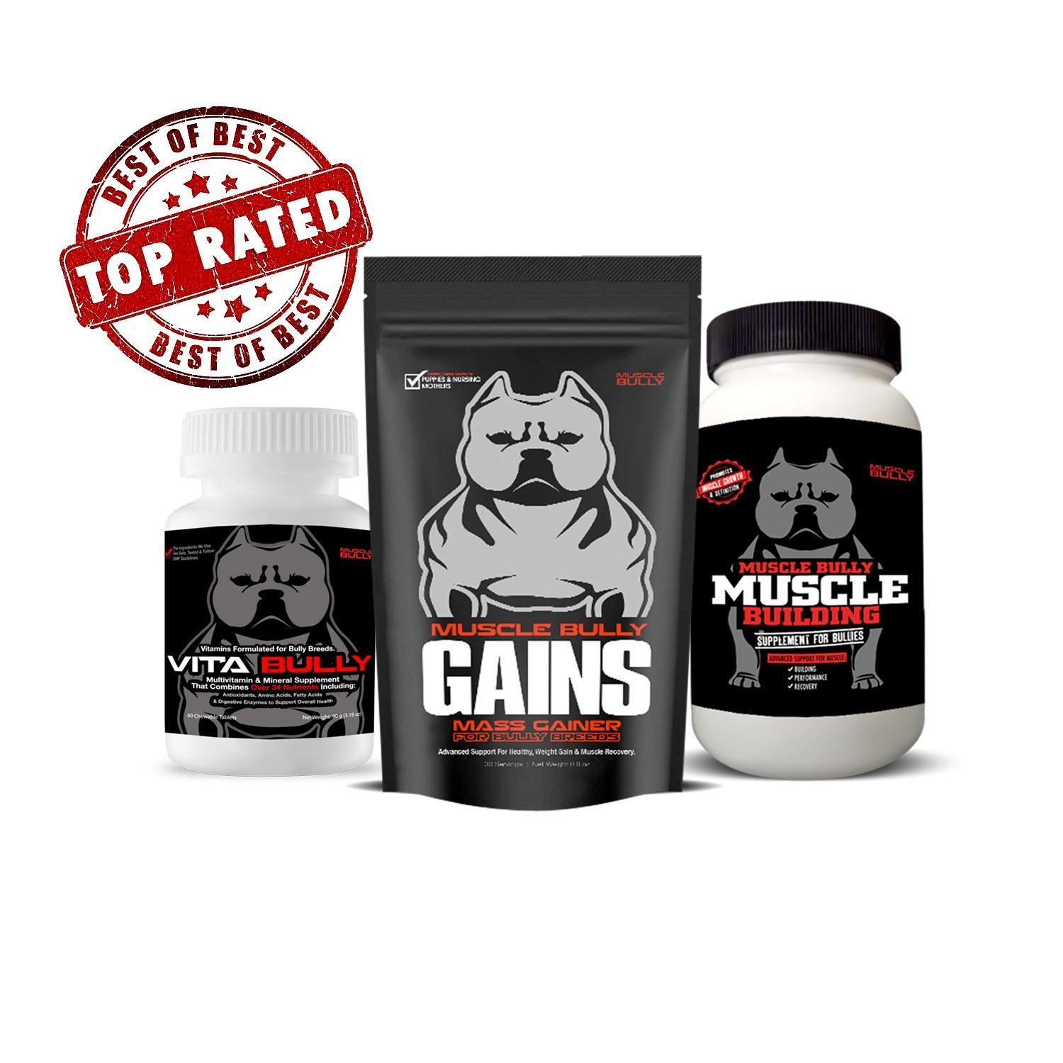 Amazon.com : Muscle Bully Gains + Vita Bully + Muscle Builder Supplement : Pet Supplies