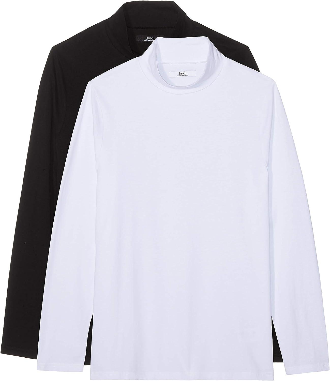 Mens Long Sleeve Cotton Turtleneck L Pack of 2 find Multicolor Black//White