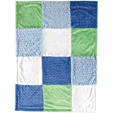 Hudson Baby Multi-Fabric 12-Panel Blanket, Blue