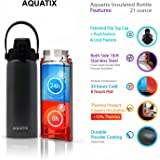 New Aquatix (Platinum Grey, 21 Ounce) Pure Stainless Steel Double Wall Vacuum Insulated Sports Water Bottle Convenient Flip Top Cap with Removable Strap Handle - Keeps Drinks Cold 24 hr/Hot 6 hr