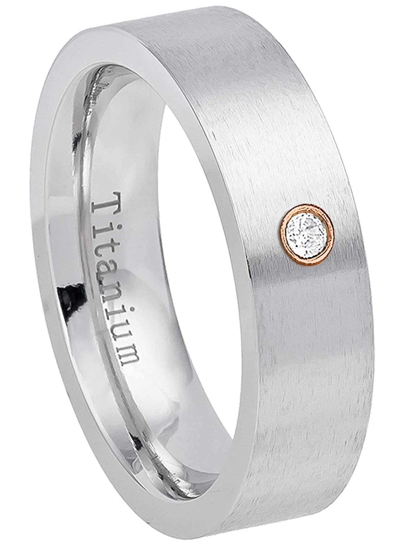 0.07ct Diamond Titanium Ring April Birthstone Ring 6MM Brushed Finish Comfort Fit Pipe Cut White Wedding Band