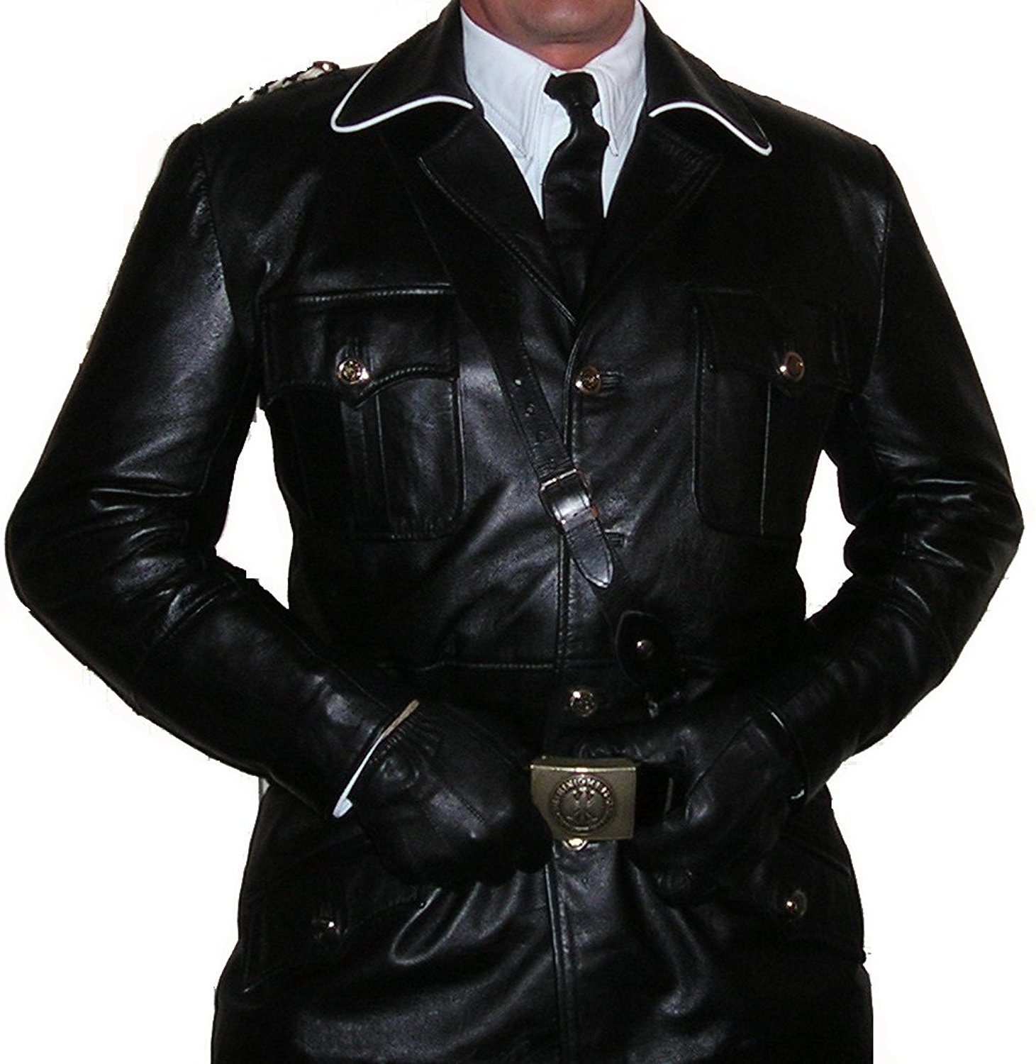 Mens WW2 German Military Black Real Leather Trench Uniform Coat