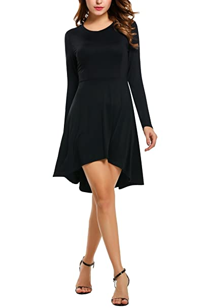 f30b4a61591ce Meaneor Women s Long Sleeve Asymmetric Bottom Hem Short Dresses Black S