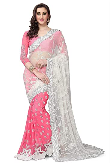 7ab14bc18d0f57 Sareeshop Georgette Saree (Zoyapink Pink)  Amazon.in  Clothing ...