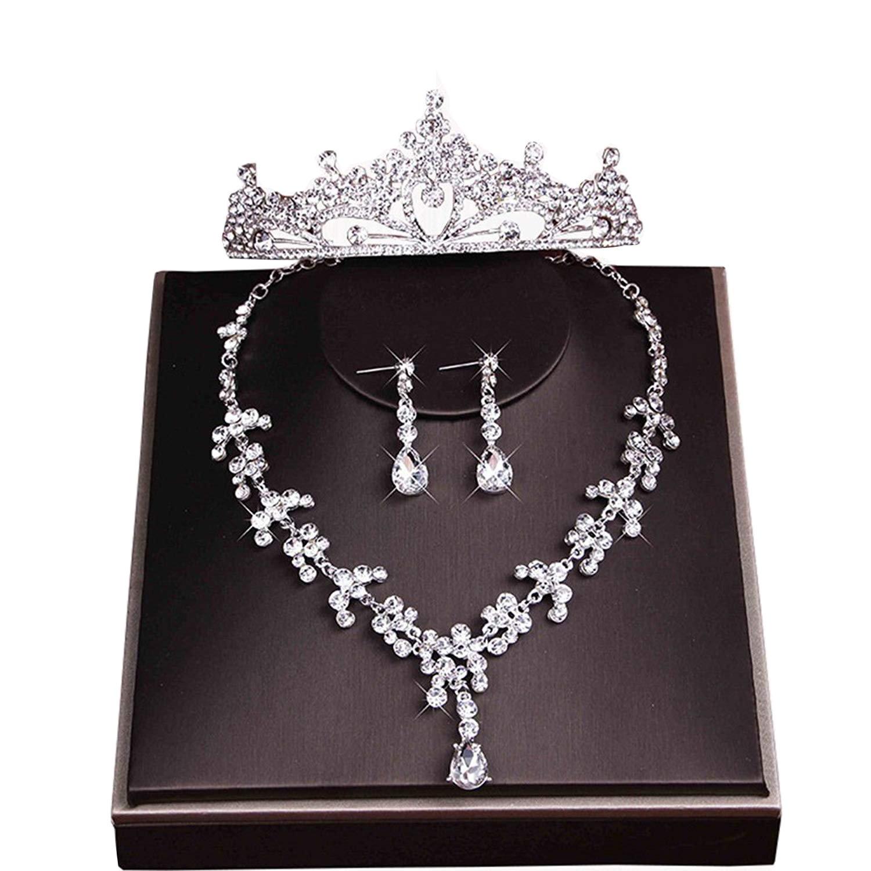Ever Girl Bling Bride Hair Accessories Tiaras Earrings Necklace Wedding Sets E