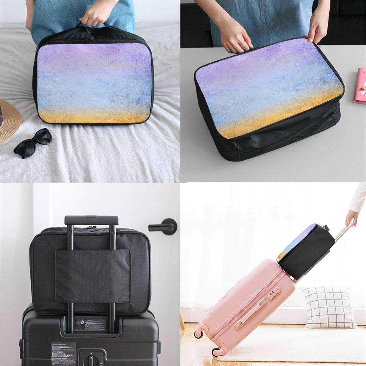 Art Abstract Watercolor Color Travel Lightweight Waterproof Foldable Storage Carry Luggage Large Capacity Portable Luggage Bag Duffel Bag