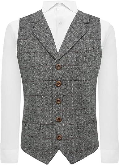King /& Priory Juniper Green Herringbone Check Waistcoat