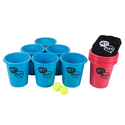 Hey! Play! Large Beer Pong Outdoor Game Set for Kids and Adults with 12 Buckets, 2 Balls, Tote Bag, Blue and Red: Toys & Games