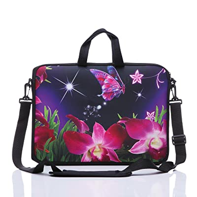 """11-Inch to 12-Inch Neoprene Laptop Sleeve Case Bag with shoulder strap For 11"""" , 11.6"""" , 12"""" Ultrabook/Acer/ Asus/Dell/HP/Toshiba/Lenovo/Chromebook (Pink flower)"""