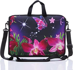 "11-Inch to 12-Inch Neoprene Laptop Sleeve Case Bag with shoulder strap For 11"", 11.6"", 12"" Ultrabook/Acer/Asus/Dell/HP/Toshiba/Lenovo/Chromebook (Pink flower)"
