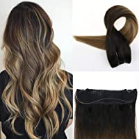 "Easyouth 16"" Halo Human Hair Balayage Extensions Color #1B Off Black Fading to #6 And #27 Honey Blond No Clips No Tapes One Piece Hair with Invisible Wire Adjustable 80g Per Package Flip On Extensions"