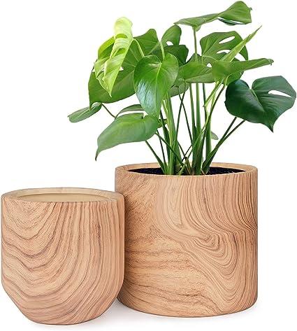 Homenote Macetas Para Plantas De Interior De 6 4 In 2 Macetas De Cerámica Con Textura De Madera Natural Jardín Y Exteriores