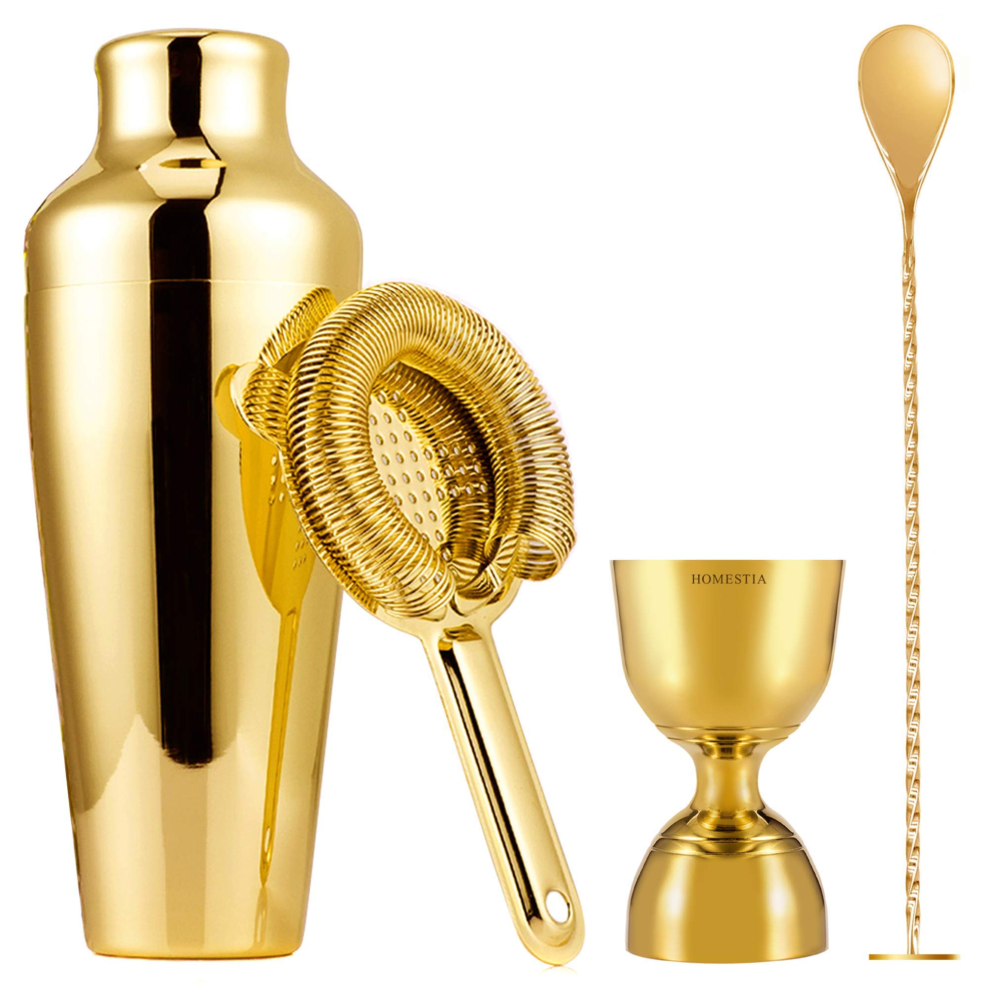 Bartender Kit Cocktail Shaker Bar Set By Homestia 4-Piece: 20oz French Shaker, Hawthorne Cocktail Strainer, Double Jigger, Cocktail Spoon with Muddler Top(Gold Plated)