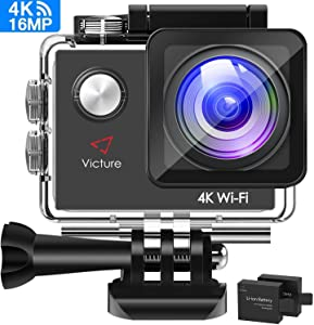 Victure AC600 4K 16MP Action Camera 30M Underwater Recording Camera with 170° Wide Angle Lens WiFi Sports Video Camera with 2 1050mAh Rechargeable Batteries and Mounting Accessories Kit Webcam