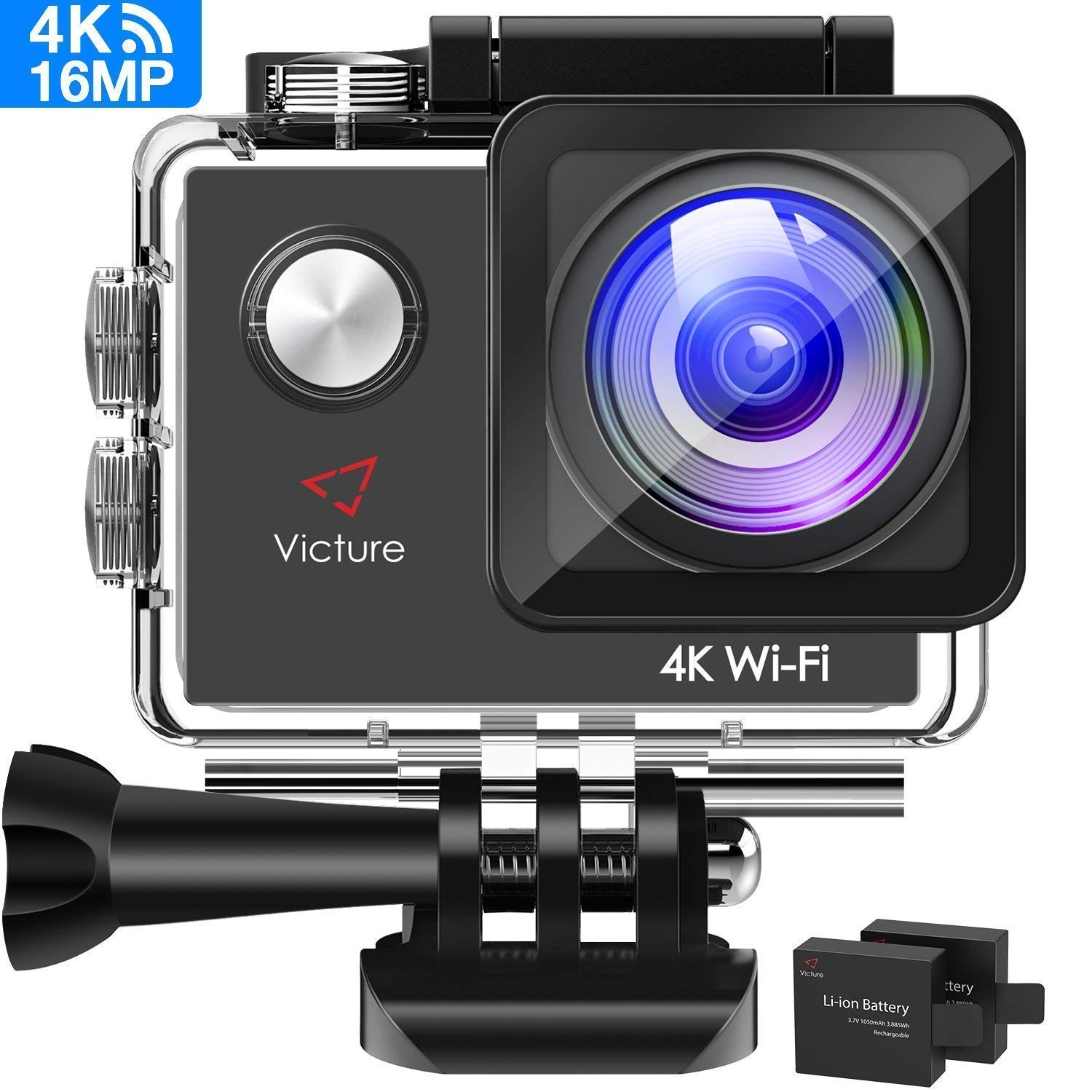 Victure Action Camera 4K WiFi 16MP 98Feet Waterproof Underwater Camera 170°Wide-Angle 2 Inch Screen Sports Cam with 2 Rechargeable 1050mAh Batteries and Mounting Accessories by Victure