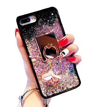 3731e51d3e iPhone 7 ケース キラキラ液体流砂 流れ星 ポップコーン 流珠 スタンド付き iPhone 8 携帯保護
