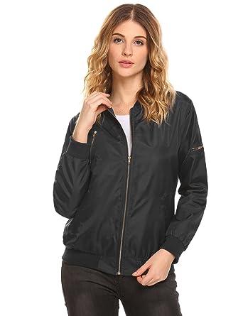 f01bb1f0b Beyove Women Lightweight Long Sleeve Zip Up Solid Bomber Jacket Stand  Collar Flight Windproof Coat