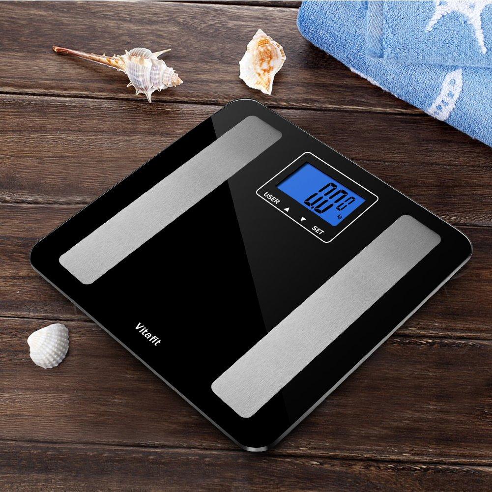 Vitafit Bilancia Pesa Persona Digitale, Bilancia Pesapersone Impedenziometrica,Grasso Corporeo Bilancia con Vetro temperato, 5kg-180Kg, Ampio Schermo LCD,nero elegante