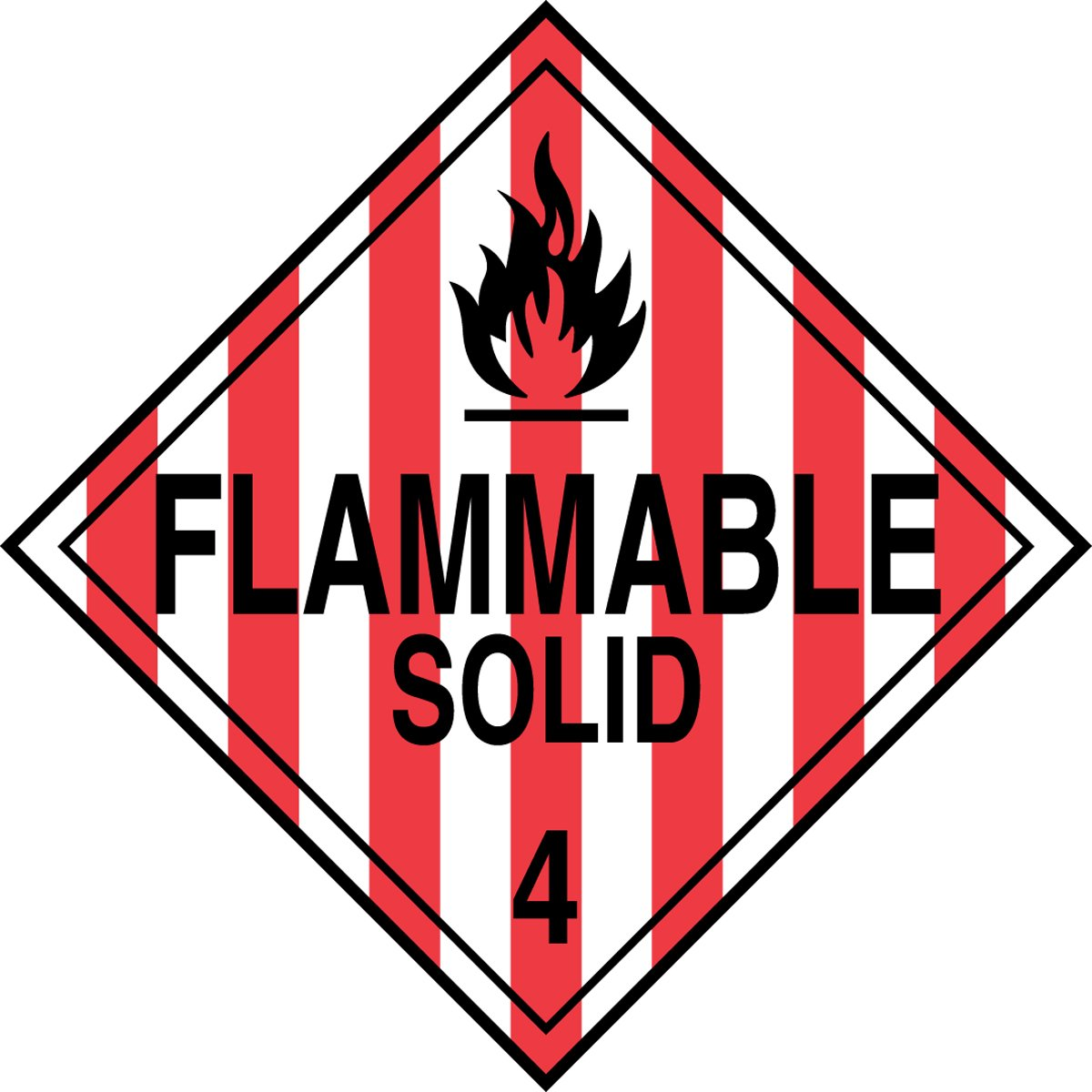 Accuform MPL401CT50 PF-Cardstock Hazard Class 4 DOT Placard, Legend''FLAMMABLE SOLID 4'' with Graphic, 10-3/4'' Width x 10-3/4'' Length, Black on Red/White Stripe (Pack of 50)