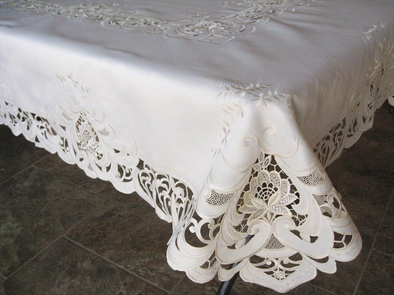 SAINTY H7889/1-(52x71) Ivory Elegance Oblong Tablecloth 52' x 71' Beige