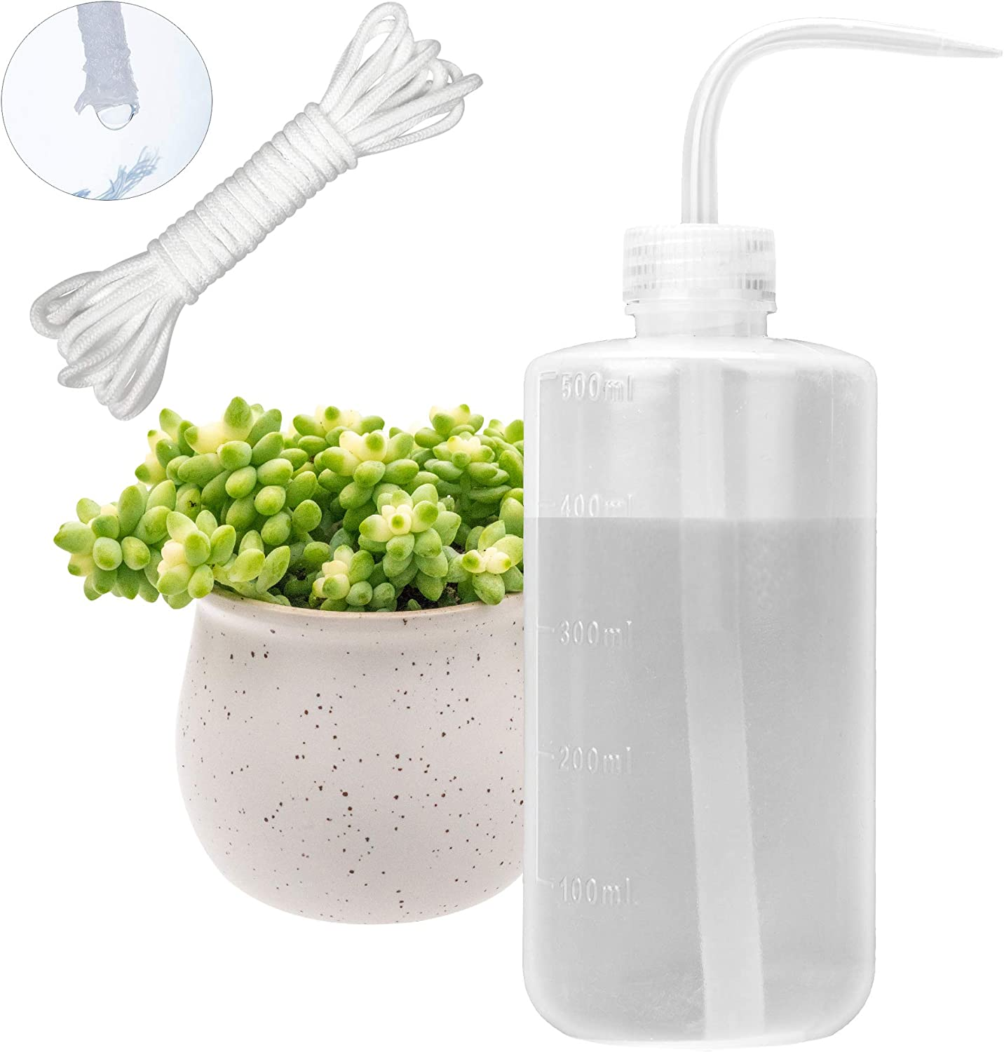 500ML Watering Bottle with 15 feet Self Watering Wick for Succulent Indoor Plants Cactus Squeeze Wash Can Long Nozzle Bend Mouth Waterer Bonsai Terrarium Orchids Seedling African Violets Fairy Garden