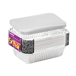 Aluminum Pans Disposable Food Containers with Lids - 20 Pans and 20 Lids - 1.5 LB Aluminum Foil Pans for Cooking, Baking, Meal Prep, Takeout (7×5 Inch)